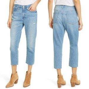 FRAME Le Beau Crop High Rise Distressed Straight Leg Jeans in Walden Rock NWT